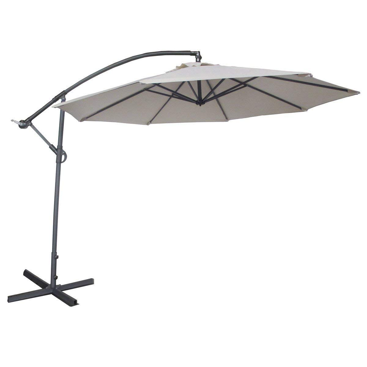 Abba Patio 10ft Offset Hanging Patio Umbrella with Cross Base, Ivory