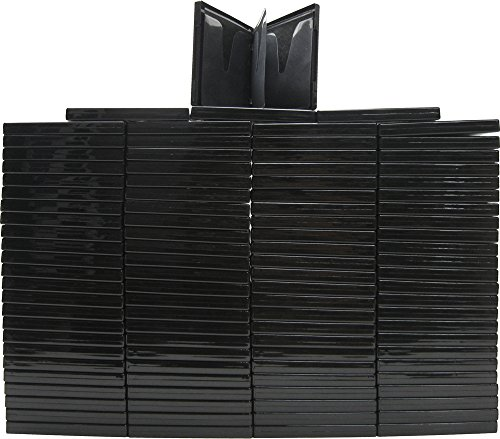 (100) Black 6-Disc Capacity CD DVD 2-Ring Album Wallet Book Storage CDBR1606BK (UniKeep Style) by Square Deal Recordings & Supplies