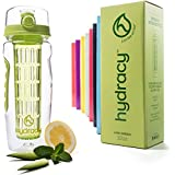 Hydracy Fruit Infuser Water Bottle - 32 Oz Sports Bottle with Full Length Infusion Rod and Insulating Sleeve Combo Set + 27 Fruit Infused Water Recipes eBook Gift - Lime Green