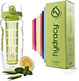 Hydracy Fruit Infuser Water Bottle - 32 Oz Sport Bottle with Full Length Infusion Rod and Insulating Sleeve Combo Set + 27 Fruit Infused Water Recipes eBook Gift - Lime Green