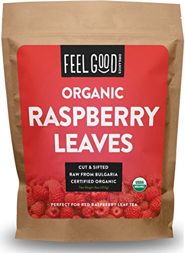 Organic Red Raspberry Leaf - Herbal Tea (200+ Cups) - Cut & Sifted Leaves - 16oz Resealable Bag (1lb) - 100% Raw From Bulgaria ()