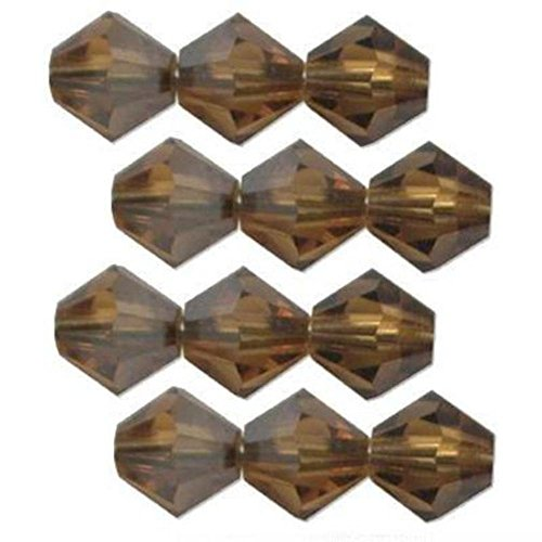 (12 Satin Topaz Swarovski Crystal Bicone Beads 5301 4mm)