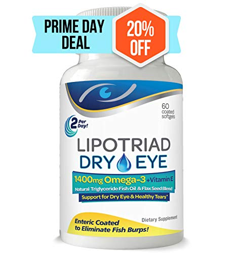 Lipotriad Dry Eye Formula - 1400mg Omega-3 Supplement - With Natural Triglyceride Fish Oil + Organic Flax Seed and Vitamin E - Support for Natural Tear Production - 60 Enteric Coated Softgels (Best Vitamins For Dry Eyes)