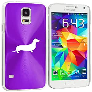 Samsung Galaxy S5 Aluminum Plated Hard Back Case Cover Dachshund (Purple)