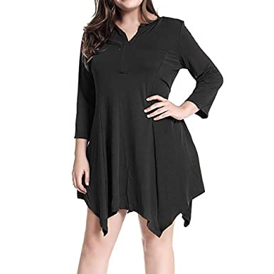 1a96ea5c533 Oliviavan Women s Casual Plus Size Evening Party Ladies Solid Sexy Long  Sleeve Mini Dress