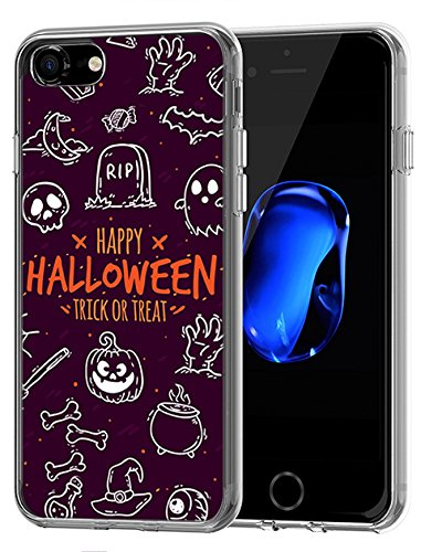 Cute Case with TPU Protective Bumper Cover for Apple iPhone 7/8 (2016/2017) Doodle on Halloween Theme Purple ()