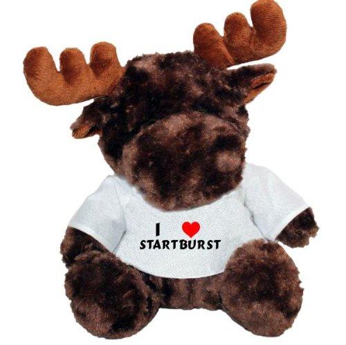 Plush Moose Toy with I love Startburst t-shirt (first name/surname/nickname)