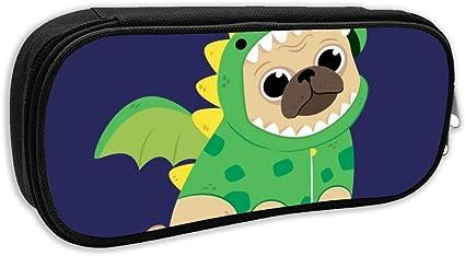 BSYZ Cachorro de dibujos animados en un disfraz de dinosaurio verde Estuche de lápices Bolsa de lápices de gran capacidad Bolsa de maquillaje Durable Estudiantes Papelería Lo mejor para la escuela /: