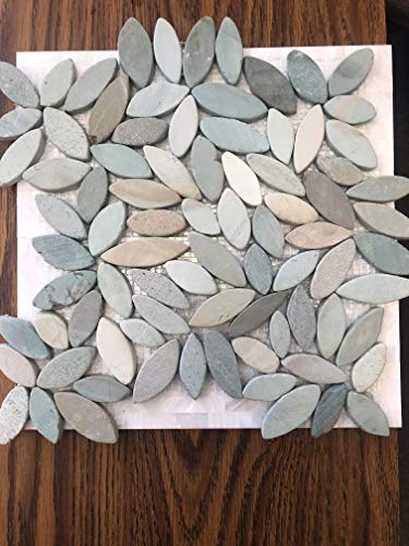 - Interlocking Flower Mosaic Autumn Floor Tiles (10-Sheets) Kitchen, Bathroom, and Patio Flooring | Indoor and Outdoor Use | Natural Auburn Golden Green Stones | Quick and Easy Grout Installation