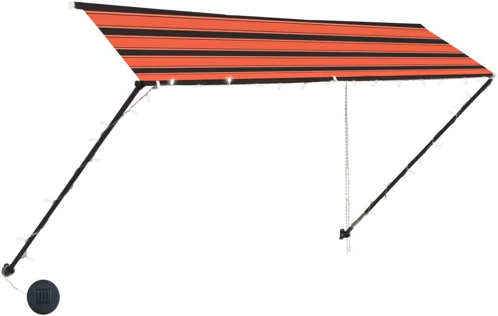 Garden Sun Shade Canopy Terrace Balcony Shelter Awning 100x150 cm Orange and Brown Tidyard Retractable Awning with Solar Lights
