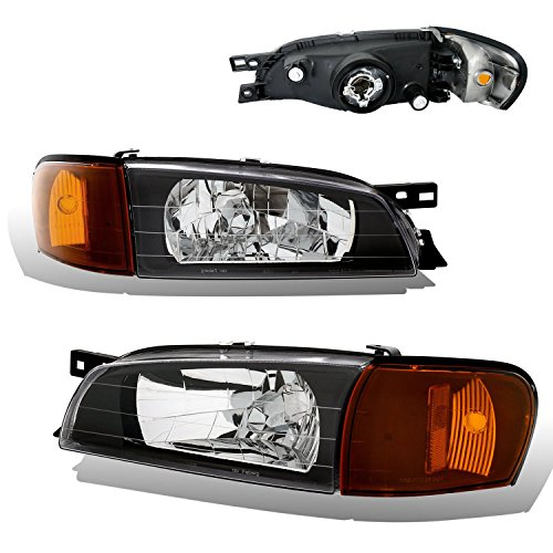Subaru Impreza Headlight Replacement - SPPC Black Headlights Assembly Set For Subaru Impreza - (Pair) Driver Left and Passenger Right Side Replacement Headlamp
