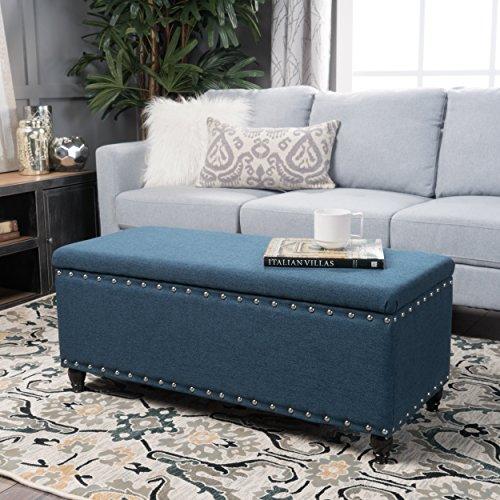 Envy Deep Blue Fabric Storage Ottoman
