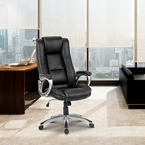 LANGRIA High-Back Executive Office Chair Black Faux Leather Computer Chair, Modern and Ergonomic Design, Well-Padded Armrests, Adjustable Seat Height, Knee Tilt Mechanism, 360 Degree Swivel, LROC-7263 Photo #8