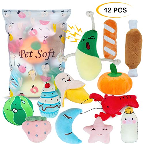 Pet Soft 12 Pack Dog Squeaky Toys, Plush Squeaky Dog Toys for Small Medium Dog, Small Stuffed Puppy Teething Squeaky…