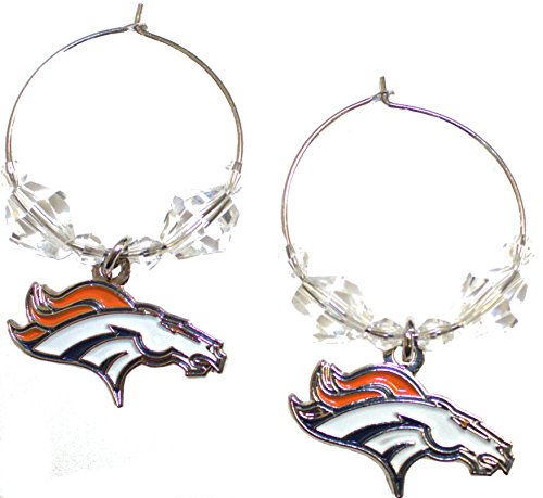 NFL Licensed Clear Bead Hoop Dangle Earrings (Denver Broncos)
