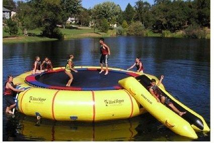 Island-Hopper-Giant-Jump-25-Padded-Water-Trampoline-w-Warranty-Slide