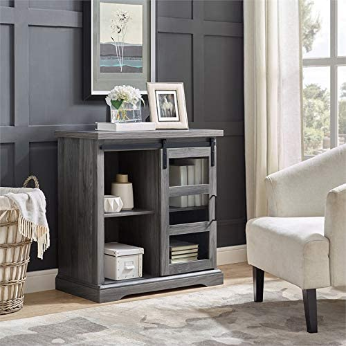 Pemberly Row 32 Sliding Glass Door TV Stand Console in Slate Gray Barnwood