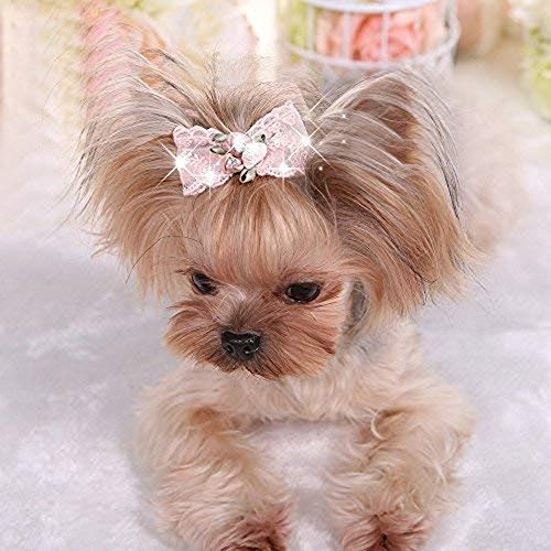 (KRexpress Bling Rhinestone Luxury Pet Puppy Dog cat Hairpin Hair Bows tie Dog lace Hair Clips Pet Dog Grooming Pet Hair Accessories Pack of 2 Pink)