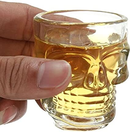 de63caea798 Circleware Skull Face Heavy Base Whiskey Shot Glasses, Set of 6 Party Home  Entertainment Dining Beverage Drinking Glassware for Brandy, Liquor, Bar ...