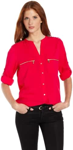 Calvin Klein Women's Modern Essential Zipper Button-Front Blouse