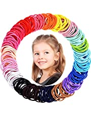 WillingTee 300 Pieces 2.5mm Multicolors Baby Girls Hair Ties No Crease Hair Bands Ponytail Holder Hair Accessories for Girls Infants Toddlers Kids and Children