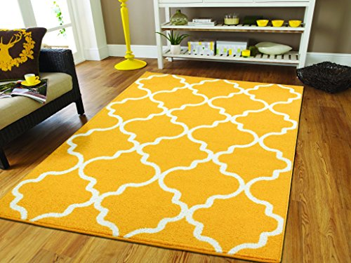 Luxury Rugs for Bedroom for Teens 5x8 Contemporary Rugs Yellow 5x7 Area Rugs Morrocan Trellis Yellow and White Modern Rugs For Living Room, 5x8 Rug
