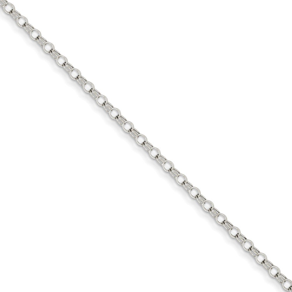 ICE CARATS 14k White Gold 3mm Solid Double Link Charm Bracelet 7 Inch Fine Jewelry Gift Set For Women Heart by ICE CARATS (Image #3)