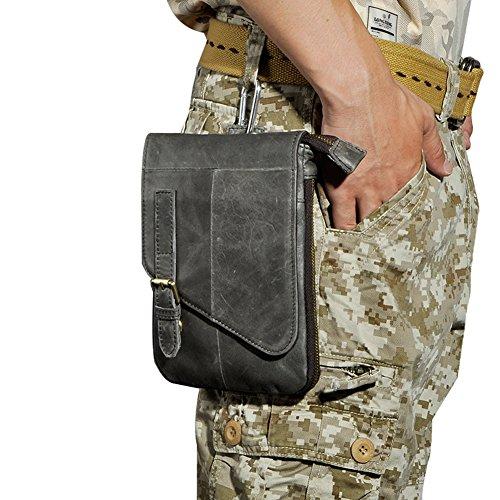 Genda 2Archer Mini Leder Schultertasche Lässig Reisetasche Dunkel Grau