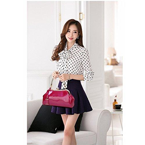 Verni pour Main Sac en à Coquille à Rose Blue Color Tsutou Brillant Cuir Femme Xz6fnnx