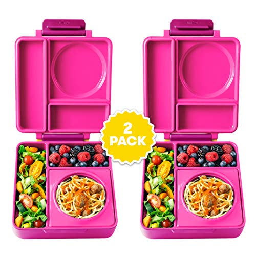 (OmieBox Bento Lunch Box for Hot & Cold Food | 3 Compartments, Two Temperature Zones + Thermos Food Jar for Kids - Leak-Proof and Insulated - (Pink Berry) (2 Pack))