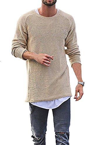 SurBepo Mens Casual Solid Round Neck Long Sleeve Knit Sweaters (Beige L)