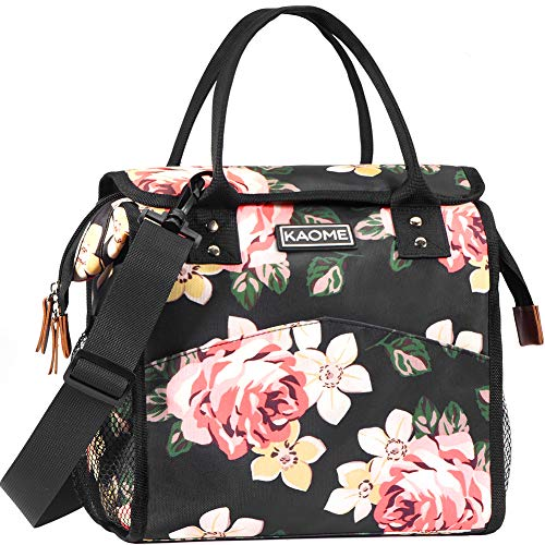 Kaome Lunch Bags for Women, Reusable Insulated Lunch Box, Double Zippers Wide Open Lunch Cooler Container Bag, Durable Leakproof Picnic Bags for Men Work School Outdoor Flower (Pink) (Lunch Container Bag)