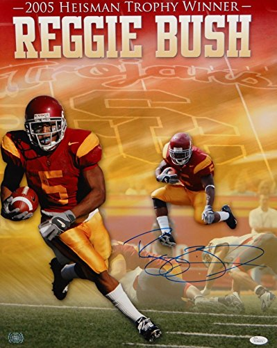 (Reggie Bush Autographed 16x20 USC '05 Trophy Winner Photo- JSA Authenticated)
