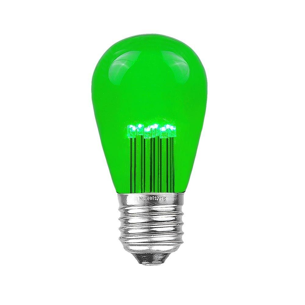 5 Pack LED S14 Replacement Bulbs, Green, Medium Base (E27), 1 Watt Novelty Lights