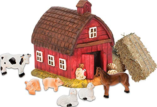 ini Straw Bale Hay Bundle of 9 Items - 1 Fairy Garden Barn, 6 Tiny Realistic Farm Animals Sheep, Pigs, Cow, Horse, 2 Real Straw Bales ()