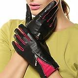 Warmen Women's Lambskin Genuine Leather Gloves Two Tone with Zip Decoration on Back (L, Black/Fuchsia)