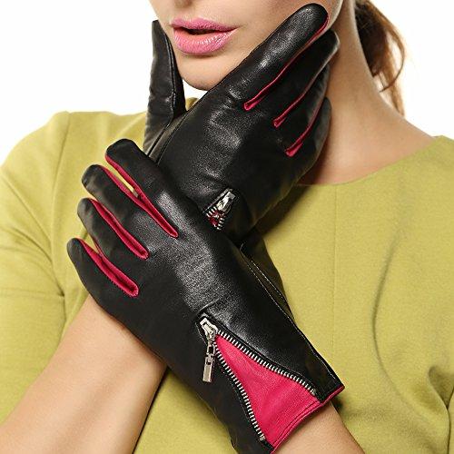 Warmen Women's Lambskin Genuine Leather Gloves Two Tone with Zip Decoration on Back (L, Black/Fuchsia) - Two Tone Leather Gloves