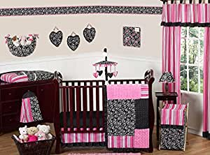 Hot Pink and Black Madison Boutique Baby Girl Bedding 11pc Crib Set without bumper