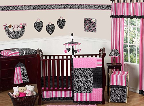 Hot Pink and Black Madison Boutique Baby Girl Bedding 11pc Crib Set without bumper - Baby Girl Bedding Black