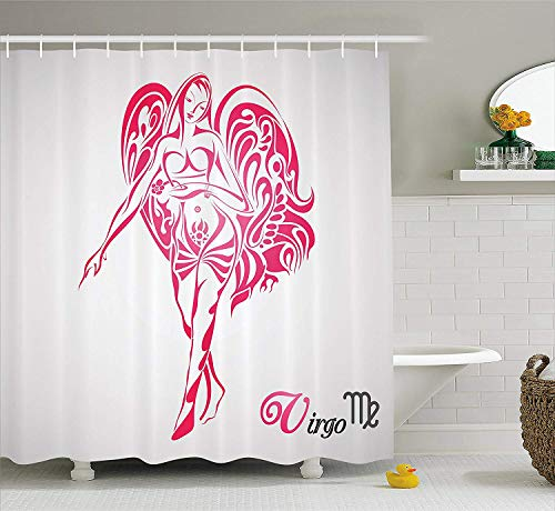 Chinese Zodiac Virgo - Afagahahs Zodiac Virgo Shower Curtain The Virgin of The Zodiac Illustration with Abstract Angel Wings Mystical Fabric Bathroom Decor Set with Hooks Pink Pale Grey