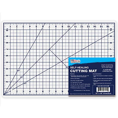 U.S. Art Supply 12″ x 18″ WHITE/BLUE Professional Self Healing 5-6 Layer Double Sided Durable Non-Slip PVC Cutting Mat Great for Scrapbooking, Quilting, Sewing and all Arts & Crafts Projects