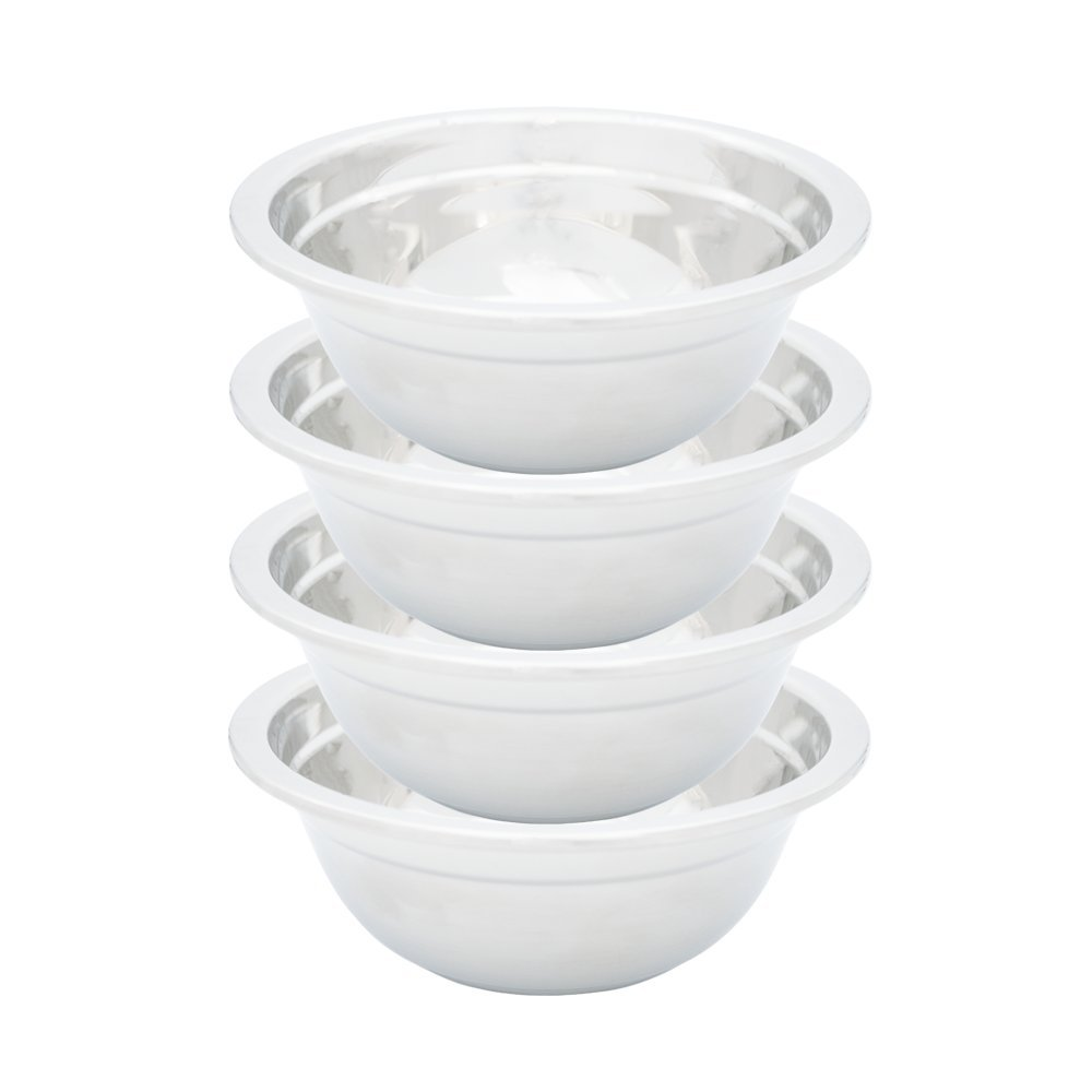 TukTek Kitchen Premium Set of 4 Large Stainless Steel Soup Bowls 24oz 304 SS 3 Cup Nesting Bowls with Flat Base & Rim for Soups Salad Cereal (4)