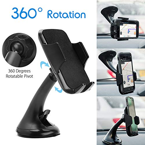 - LotFancy Cell-Phone Holder for Car, 360 Rotation Car Cell Phone Holder, Universal Car Phone Mount, Dashboard Windshield Cradle with Strong Sticky Suction Cup for iPhone X XS XR Samsung Galaxy Black