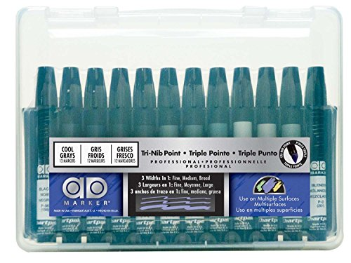 The Original Chartpak AD Markers, Tri-Nib, 12 Assorted Cool Grey Colors in Plastic Carrying Case, 1 Each -