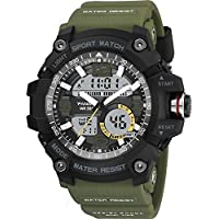 alignmentpai Men Sports Wrist Watch Military Waterproof Backlight Sports Digital Analog Watches for Outdoor Sport Xmas Gift Army Green