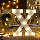 Wanshop LED Letters Alphabet Sign Numbers Light Up Battery Operated Decorative Letter Standing Hanging Plaque Decoration Gift A-Z (X)