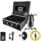Pipe Pipeline Inspection Camera Waterproof 30M 7in LCD Monitor 360° 38 LED Sewer Inspection Borescope CCD 800TVL HD Camera(US Plug)