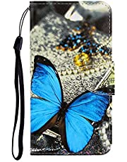 JJWYD Funda para Samsung Galaxy A01, Carcasa Libro con Tapa Flip Case Antigolpes Golpes Protectora Cartera Suave PU Cuero Cover Anti-arañazo Carcasas para Samsung Galaxy A01 - Mariposa