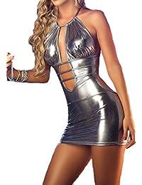 Women's Sexy Lingerie Babydoll Sleepwear Underwear Costume Leather Dress Nightwear