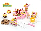 DIY Fruit Cake: 75 pieces party toy set for girls ages 6+, for hands on play, with fruit cakes, Swiss roll, different toppings, pudding, biscuits and suitable crockery
